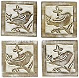 Wooden coaster holder set for drink Wooden Bar Coaster Tea Coffee Mug Tabletop Barware Drink Set of 4 Handmade Sparrow Motif with White Distressed Look Dining Home Decor