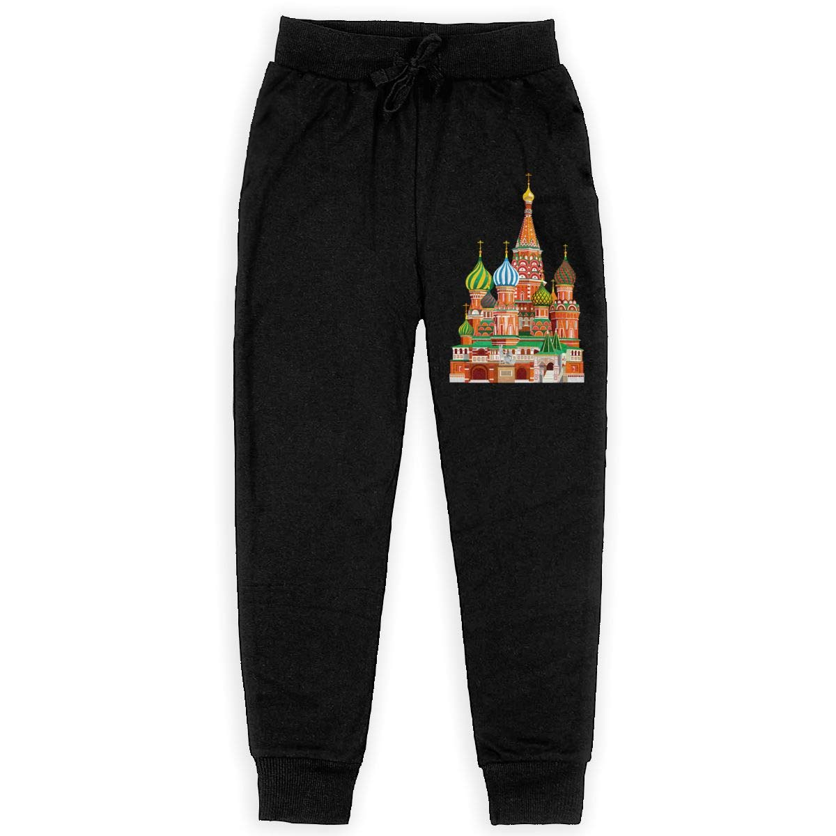 Qinf Boys Sweatpants Color Russian Architecture Joggers Sport Training Pants Trousers Black