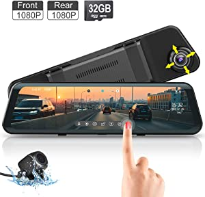 Mirror Dash Cam Front and Rear Backup Camera Fodsports Car Dash Cam 12 Inch 1920X1080P Stream Media Anti Glare IPS/ 150° Wide/G-Sensor/Night Vision/Reverse Cam/ 32GB TF Card/ 500mAh Parking Monitor