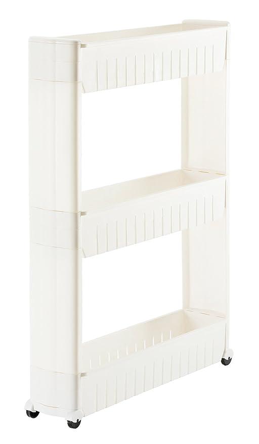 Orolay Nieschenregal Küchenschrank Nischenwagen Küchenregal mit Rollen 3  Etagen (Weiß)