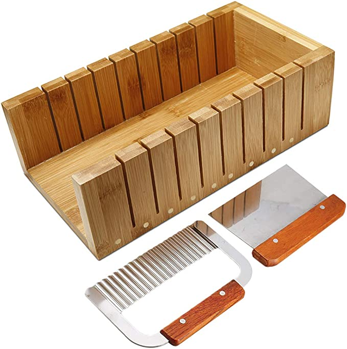 Amazon.com: Soap Cutting Tool Set Wooden Loaf Cutter Mold + 2 Pcs Straight Wavy Stainless Steel Cutter Slicer