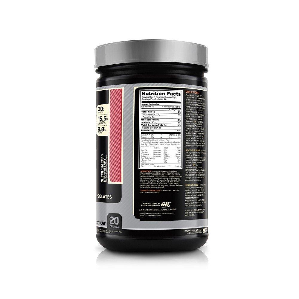 OPTIMUM NUTRITION Platinum Hydrowhey Protein Powder, 100 Hydrolyzed Whey Protein Powder, Flavor Supercharged Strawberry, 1.75 Pounds