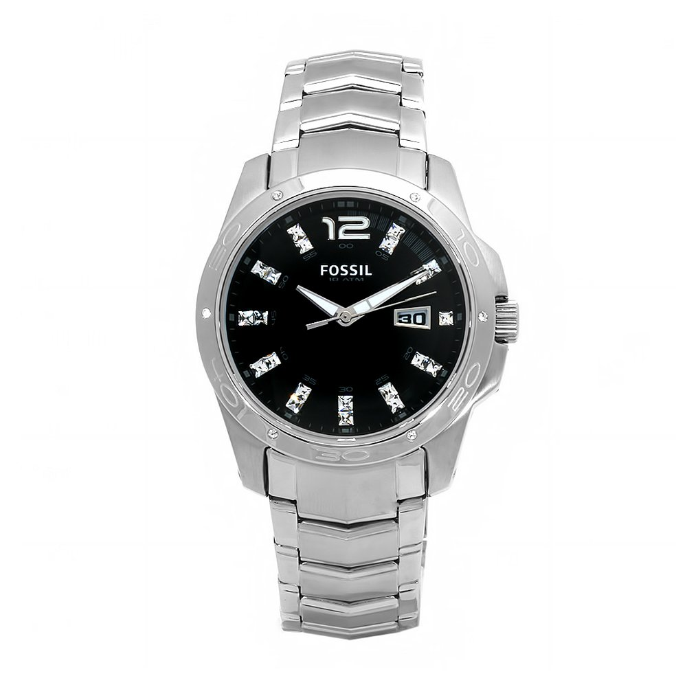 Amazon.com: Fossil Mens AM4089 Glitz Stainless Steel Black Dial Watch: Fossil: Watches