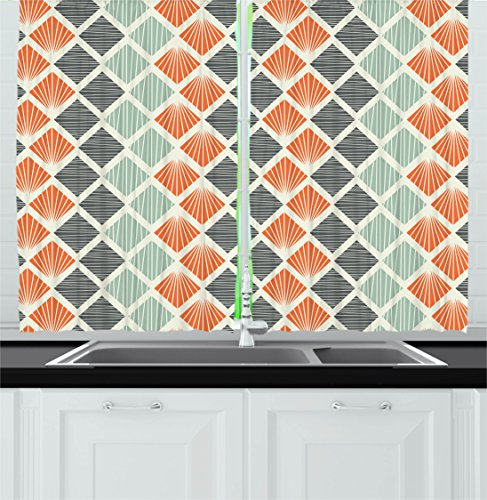 Geometric Decor Kitchen Curtains by Ambesonne, Pop Art Style