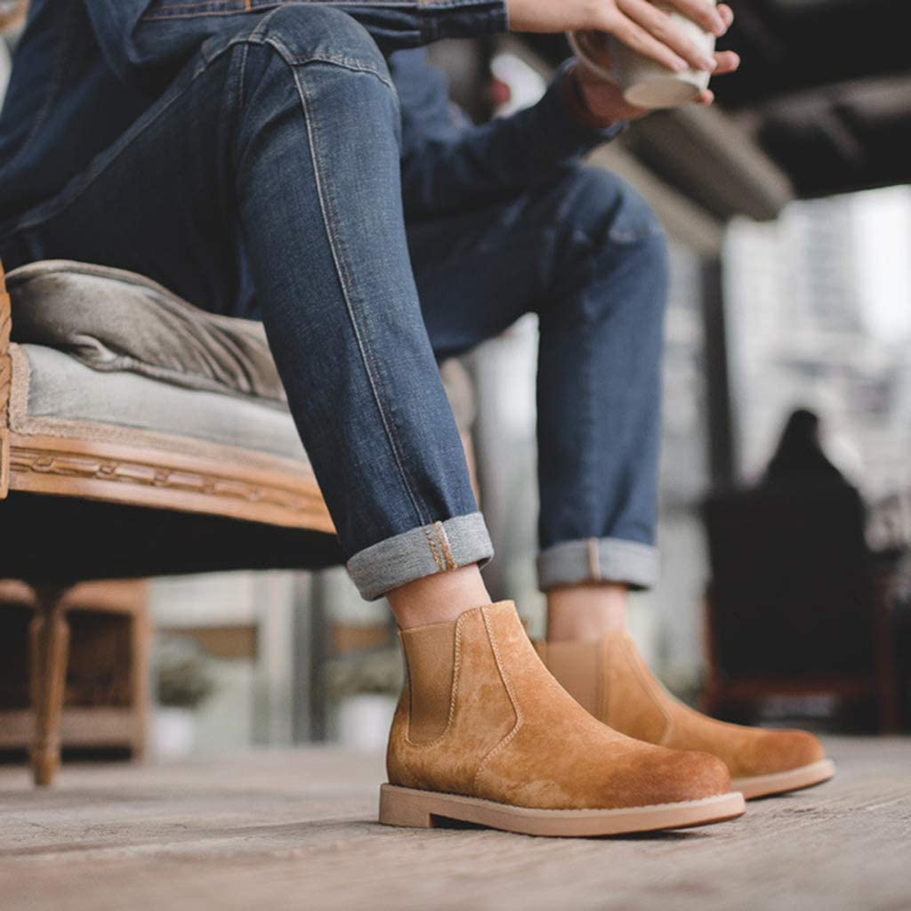 NHX Chelsea-Stiefel Dealer Boot Leder Rustikaler Meißelzehenstiefel Wasserabweisender Goodyear Gummizug Stiefel für Erwachsene Niedrige Stiefeletten Yellow Brown