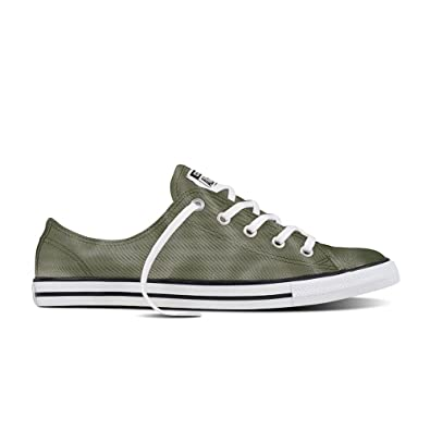 5c08c93fbffc Converse Women s Chuck Taylor Satin Dainty Trainers -Olive 7  Amazon ...
