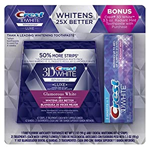 Crest 3D White Luxe Whitestrips Dental Teeth Whitening Strips Kit, Glamorous White, 21 Treatments + BONUS Crest 3D White Radiant Mint Toothpaste 3.5 oz