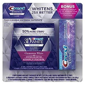 Crest 3D White Glamorous White Whitestrips 21 count + Bonus Crest 3D White Radiant Mint Toothpaste 3.5 oz