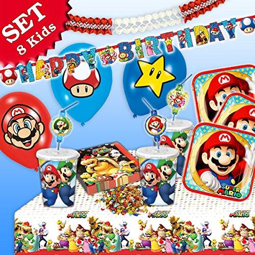 SUPER MARIO Geburtstag-Deko-Set, 54-teilig zum Kindergeburtstag für Jungen und Mädchen und Motto-Party für 8 Kids und Fans von Mario, Luigi, Bowser, Toad, Peach und Co geburtstagsfee