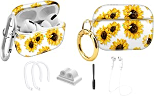 MOLOVA Compatible AirPods Pro Case Cover, Sunflower Clear Case Cute Protective Soft Shockproof Cover with Keychain for Women Girls Men Compatible with Apple AirPods Pro 3 Wireless Charging Case,Flower
