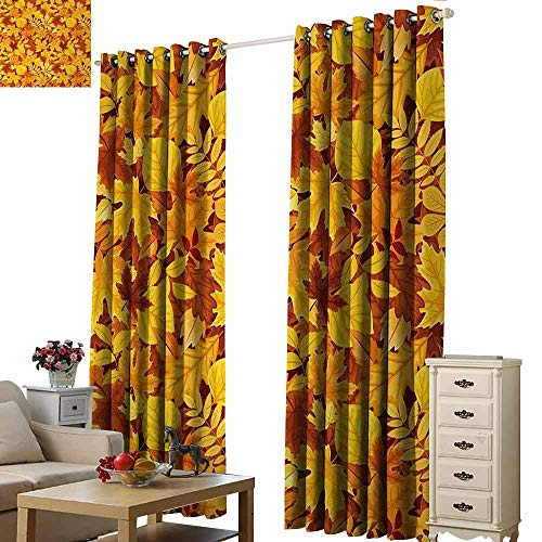 Homrkey Windshield Curtain Autumn Shady Fall Oak Maple Tree Leaves on Faded Tones Seasonal Foliage Artwork Tie Up Window Drapes Living Room W108 xL72 Earth Yellow Marigold