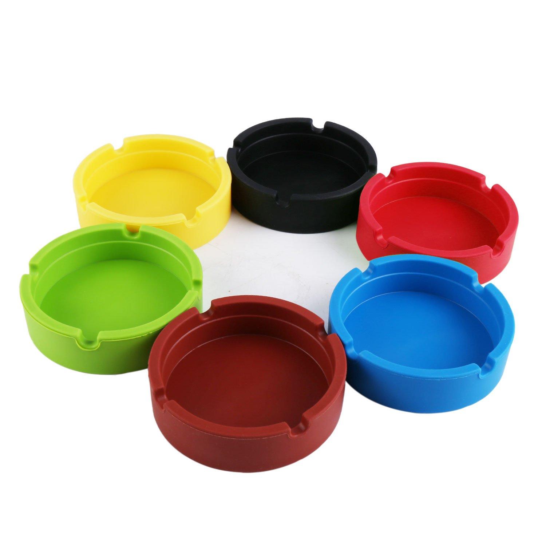 Freehawk Silicone Round Ashtray, Eco-Friendly Colorfull Premium Silicone Rubber High Temperature Heat Resistant Round Design Ashtray (4pcs) Color random
