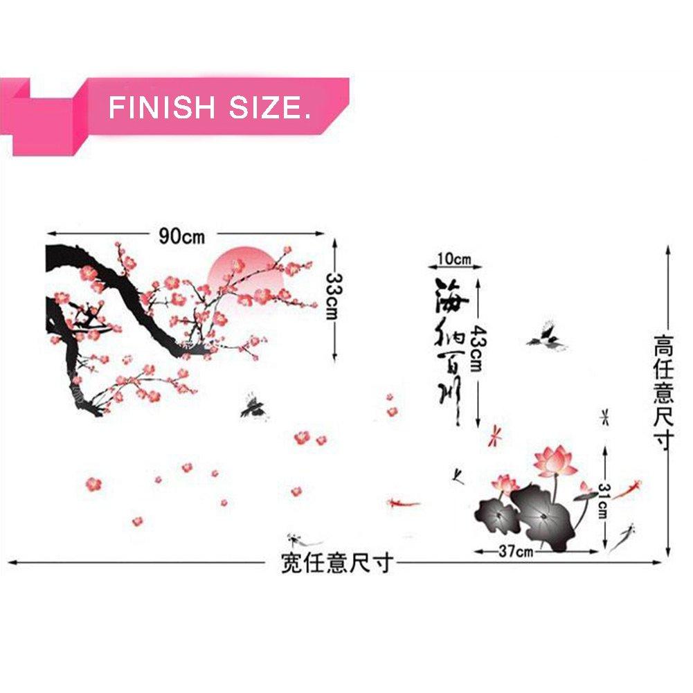 Papel pintado PVC,Letras decorativas flor de ciruelo vintage carácter chino, Pegatina adhesiva para pared 45x60cm arte mural: Amazon.es: Hogar
