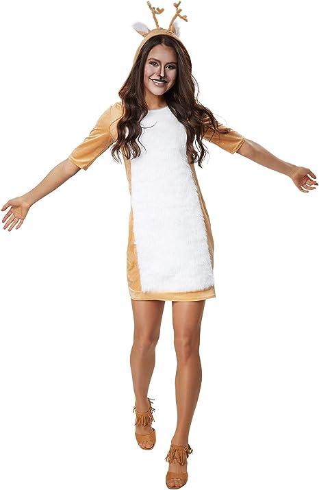dressforfun 900541 - Disfraz de Mujer de Ciervo, Traje de Felpa ...