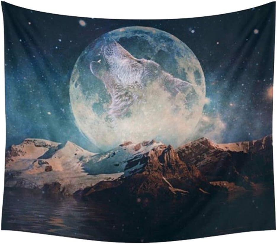 AidShunN Tapisserie Coucher De Soleil For/êt Loup Et Lune Ciel /Étoil/é Couverture Tenture Murale pour Chambre Dortoir D/écor