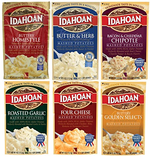 Idahoan Flavored Mashed Potatoes, Variety Bundle, 4 oz (Pack of 6) includes Butter & Herb Mashed + Bacon & Cheddar Chipotle + Four Cheese + Roasted Garlic + Buttery Golden ()