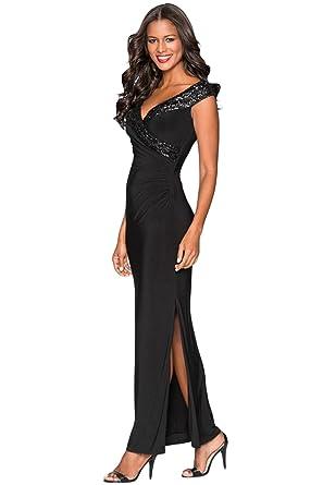 Amazon.com  Azokoe Long Evening Dress for Women 2018 Sexy Elegant Sequin  Wrap V Neckline Split Bodycon Nightclub Wedding Cocktail Party Homecoming  Dress ... 72ebcdb0d