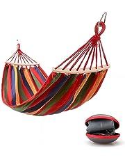 Easy Eagle Hamacas–Rollover Viaje Camping Lona Hamaca de Exterior Arco Iris Stripes Swing Send Tie Cuerda + Funda