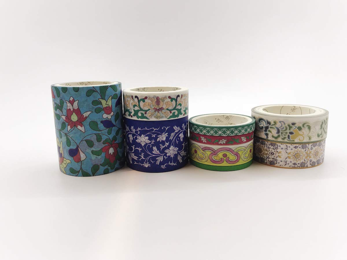 Elegant Porcelain Print washi Tape Set of 8 Rolls. for Wall Borders, scrapbooks, Crafts, Gift wrap, and Decorating. Incl Extra Wide Tape