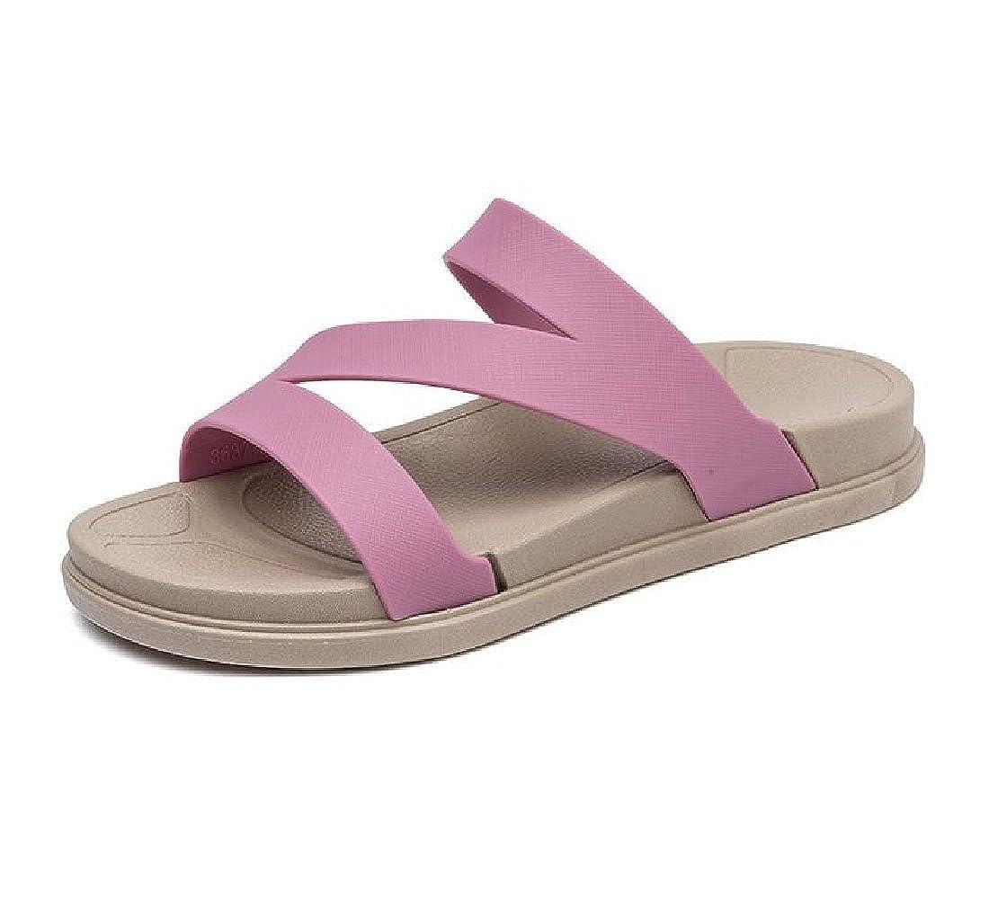 Abetteric Unisex Flat Sandals Fashion Summer Non-slip Waterproof Slides