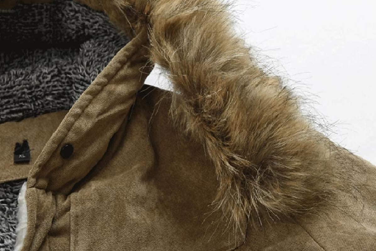 YUNY Men Mid-Long Fleece Lined Winter Horn Button Parka Coats Jackets Camel S
