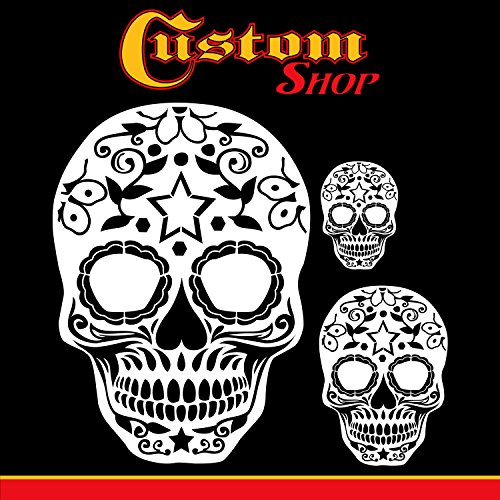 Custom Shop Airbrush Sugar Skull Day Of The Dead Stencil Set (Skull Design #10 in 3 Scale Sizes) - Laser Cut Reusable Templates - Auto, Motorcycle Graphic Art Auto Airbrush Stencils