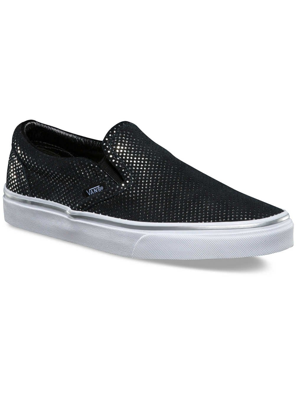 Vans Damen UA Classic Slip-on Sneakers  10.0|(Metallic Dots) Silver/Bl