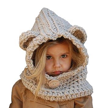 Earflap Hood Scarf Hat AMHDV Kids Winter Hat,Girls Boys Warm Knit Hat 8-14 Old