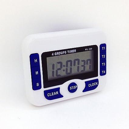 Reloj Digital/Temporizador Cocina con 4 Canales - Temporizador Digital/Cronómetro Clip Imán,