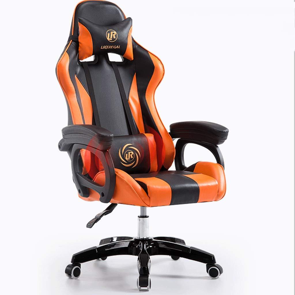 ホーム旋回椅子コンピュータ椅子会議椅子椅子調節可能な高さ柔らかく快適な嘘PU多方向の車輪 (色 : D) B07JJFG14V D D