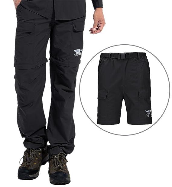 Hilarocky Pantalones Hombres Largo / Corto Impermeable Senderismo Táctico Camuflaje Secado Rápido Fino y Transpirable para Primavera y Verano: Amazon.es: ...