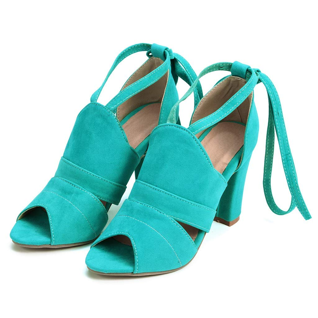 Women's Peep Toe High Heels Ankle Cross Straps Chunky Block Sandals Lace Up Dress Party Pump Sandals (Dark Blue, US:9=Foot Length:26.5cm/10.4'') by Sinaou Women Shoes (Image #6)