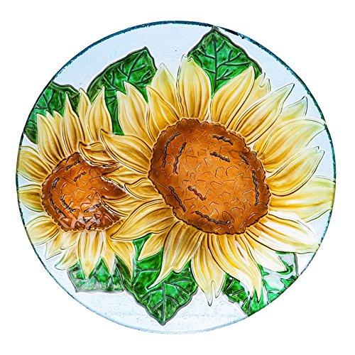 Evergreen Sunflowers Pebble Glass Birdbath, 18 inch Diameter