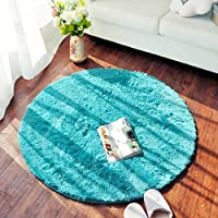 SANNIX Round Shaggy Area Rugs and Carpet Super Soft Bedroom Carpet Rug for Kids Play (Blue,0.8X0.8M)