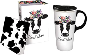 Cypress Home Herd That 17 OZ Ceramic Travel Cup - 4 x 5 x 7 Inches