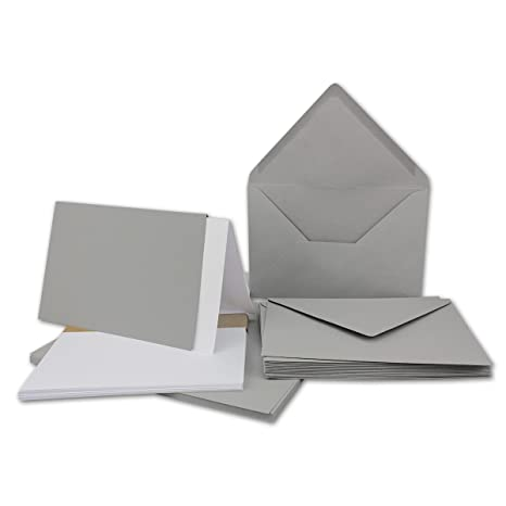 Falt-Karten-Set inklusive Briefumschläge & Einlegeblätter | 25er-Set | Blanko Klapp-Karten in Hellgrau | bedruckbare Post-Kar