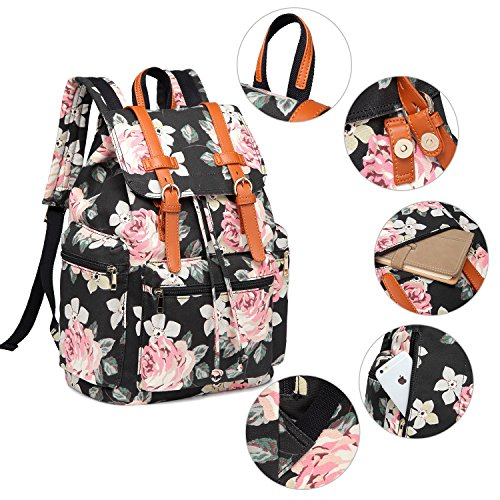 3efba58b85b3 BLUBOON Women Backpack Girls Lady Casual College Bookbag Canvas Laptop  Travel Rucksack Floral School Bag (Black)