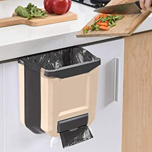 Hanging Kitchen Trash Can, Small Foldable Waste Bins, Collapsible Mini Hanging Garbage Can for Cabinet/Car/Bedroom/Bathroom, Plastic,Brown, 2.4 Gallon