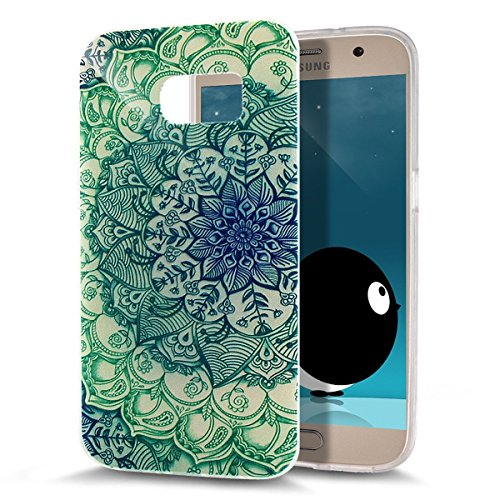 ikasus - Carcasa ultra fina de silicona suave resistente a los arañazos para Galaxy S7 (2016) Green Flower