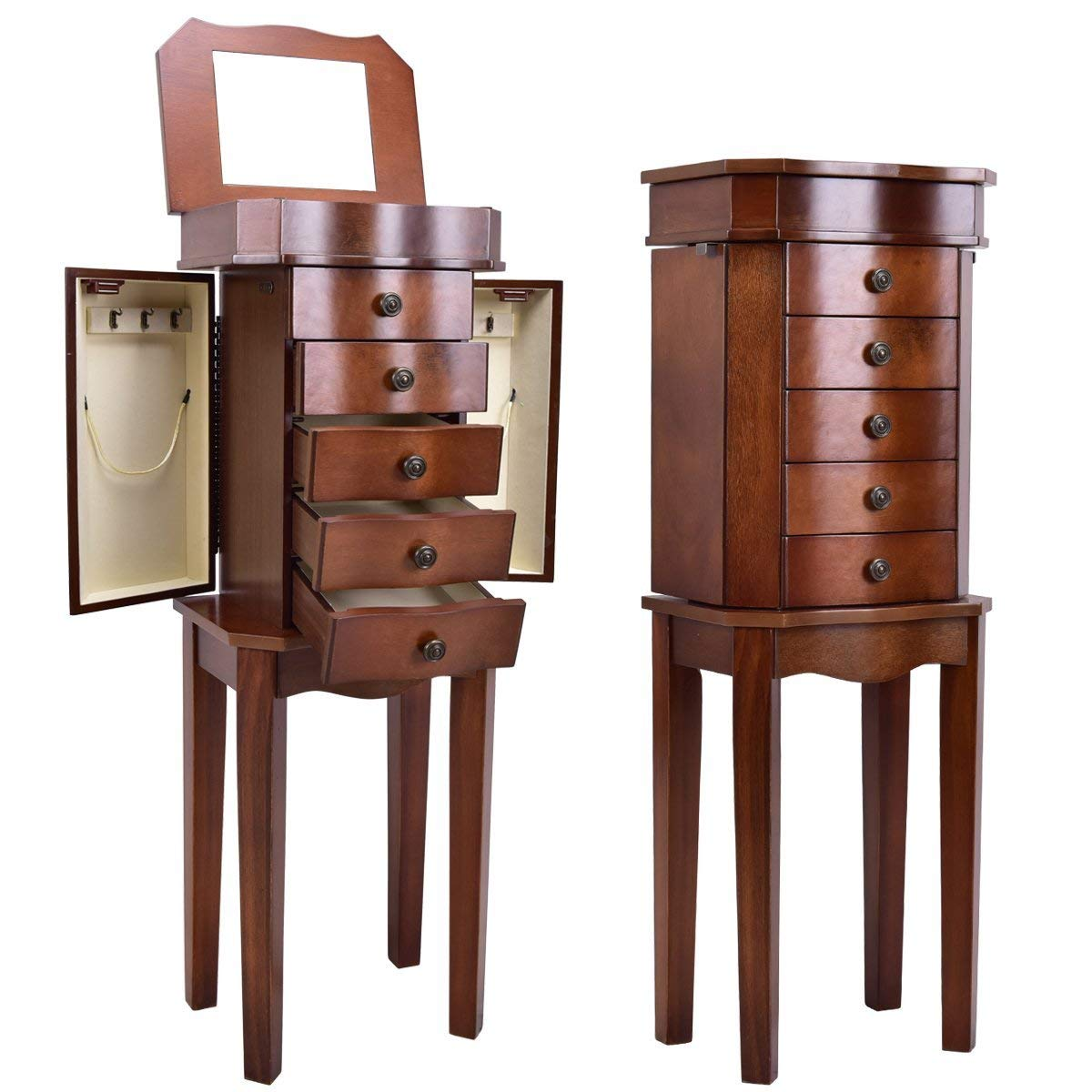 Giantex Jewelry Armoire Chest Cabinet Storage Organizer for Women Standing Wood Style 7 Hooks Swing Door Makeup Display Box Stand Up Accent Furniture Bedroom Armoires w/ 5 Drawers and Mirror (Walnut)