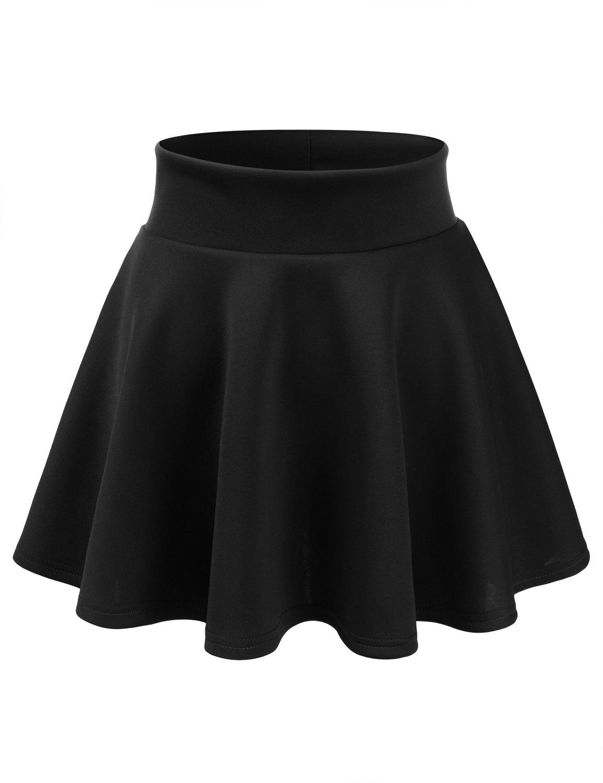 CLOVERY Women's Versatile Stretchy Pleated Flare Skater Skirt Black 3XL Plus Size