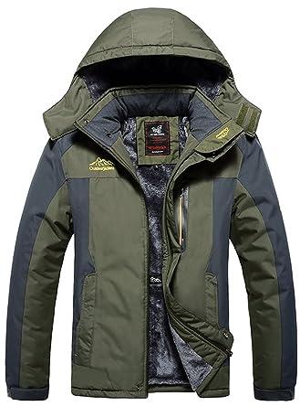 ced4b6d76 AbelWay Men's Mountain Waterproof Windproof Fleece Ski Hooded Jacket Rain  Coat Plus Size(Army Green