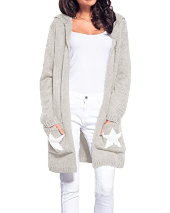 05a31617756 Chellysun Womens Cardigans Sweater Open Front Casual Star Fall Long Hoodie  Sweater Pockets