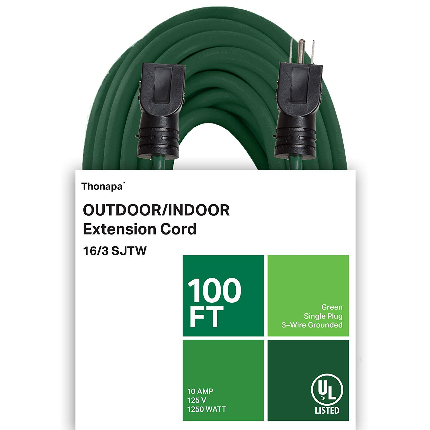 Thonapa 100 Ft Outdoor Extension Cord - 16/3 SJTW Durable Green Cable - Great for Garden and Major Appliances