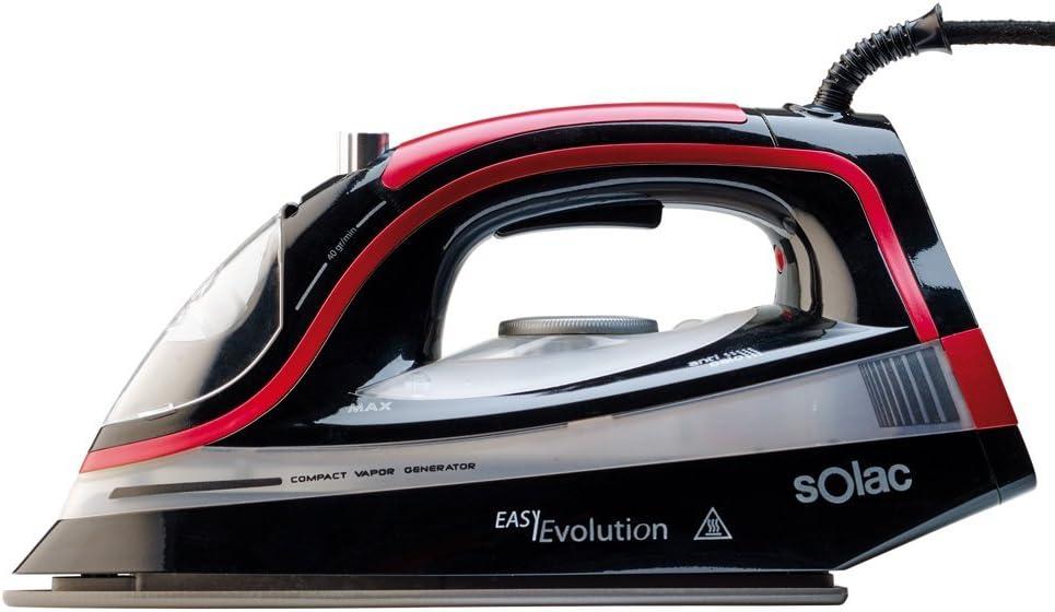 Solac CVG9505 Easy Evolution-Centro de planchado compacto (2.400 W, suela cerámica), color negro, 2400 W, 0.4 litros, Multicolor
