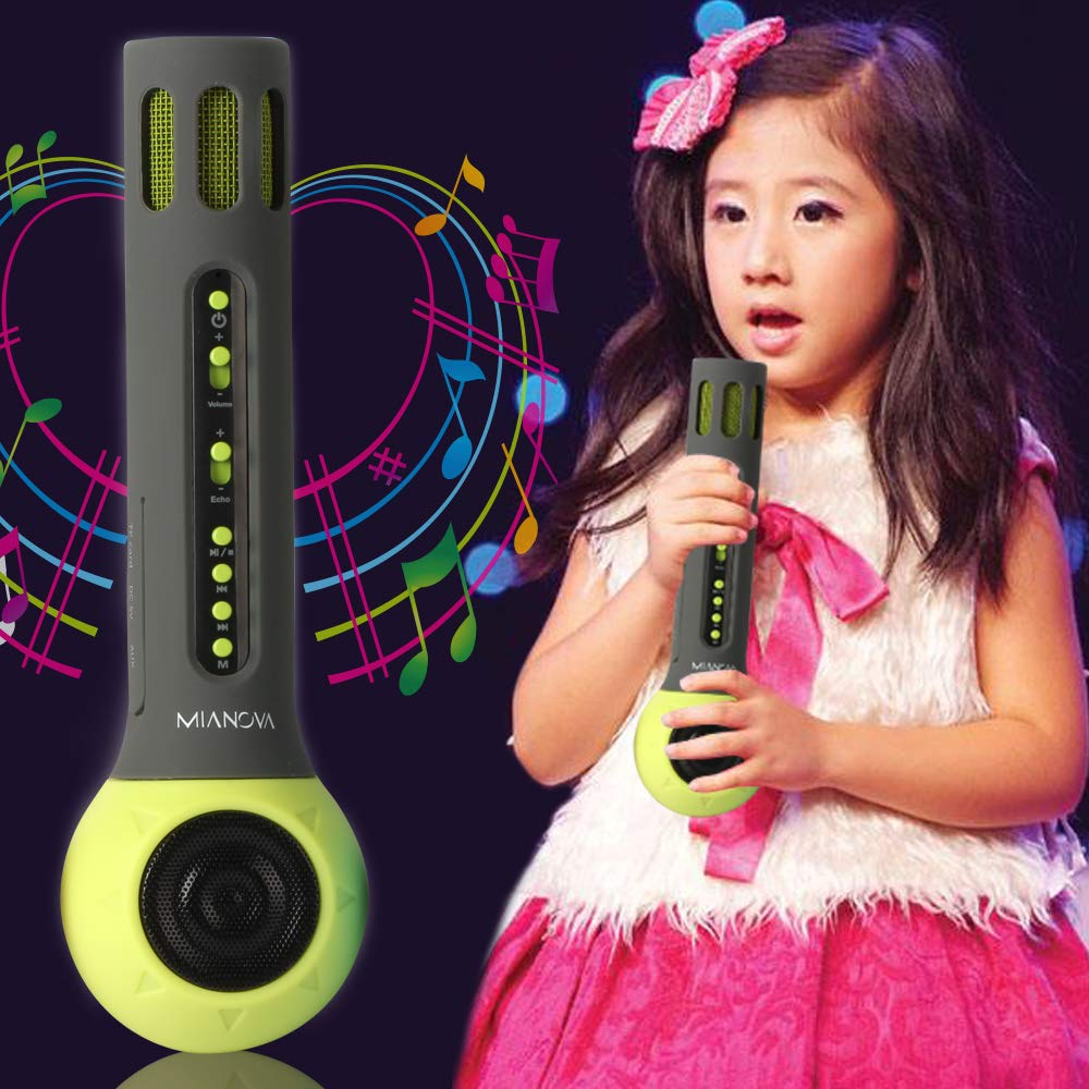 Wireless Bluetooth Kids Karaoke Microphone with Carrying Case,MIANOVA Build-in 2000mAh Colorful Silicone Surface Karaoke Machine for Kids.IOS & Android Smartphone,TF Card,AUX-In Supported (Kid-Green) by UD (Image #2)