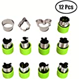 Kspowwin 12 Pieces Vegetable Cutter Shapes Set Cookie Cutters Fruit Mold Stamps Decorative Food Cutter Christmas Gift for Kids