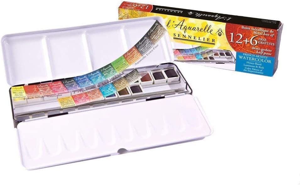 Sennelier - L'Aquarelle Watercolor Paint Set (18 Half Pans) with Sturdy Metal Palette Box | Enhanced Honey Content Pigments for Artist Quality Paints