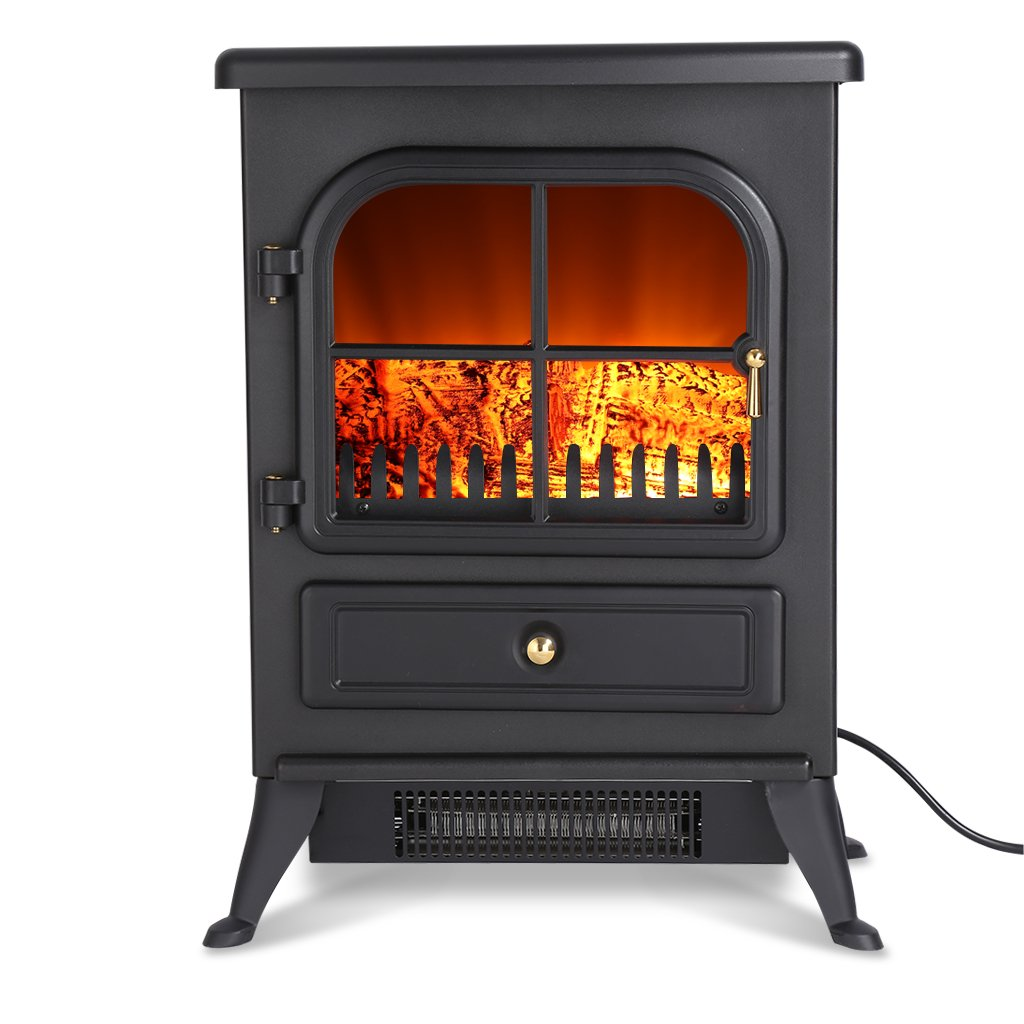 Finether 1800W Freestanding Fireplace Modern Electric Fires/Stove Heater with Openable Door/ Realistic Flame Effect and Real Logs Included/ Black For Living Room Bedroom