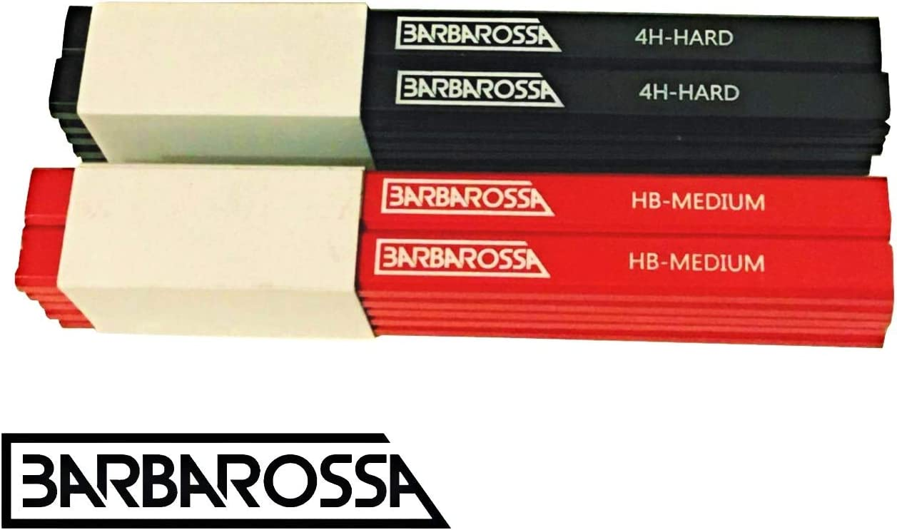 para carpinteros y carpinteros 4H sacapuntas plano tipo HB 10 unidades Barbarossa L/ápiz de forma octogonal de grafito medio duro de madera natural